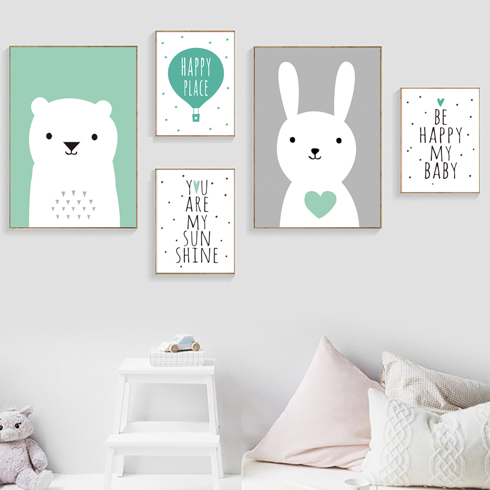 Nordic Poster Baby Room Decor Cute Rabbit Bear Nordic Decoration Home Decor Wall Art Canvas Painting Posters And Prints Unframed