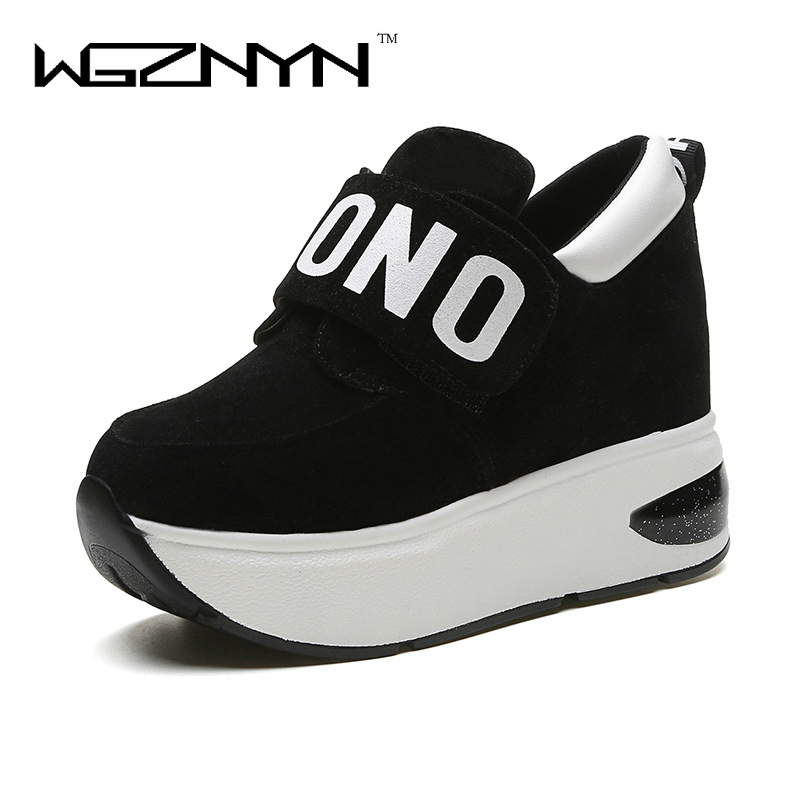 WGZNYN 2018 Autumn Platform Shoes Woman Slip on Casual Women Shoes Round Toe Flats Zapatillas Mujer Size 35-40
