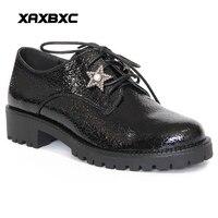 XAXBXC Retro İngiliz Tarzı Deri Brogues Oxfords Düz Kadın Ayakkabı Kristal Inci Yıldız Yuvarlak Ayak El Yapımı Rahat Bayan Ayakkabı