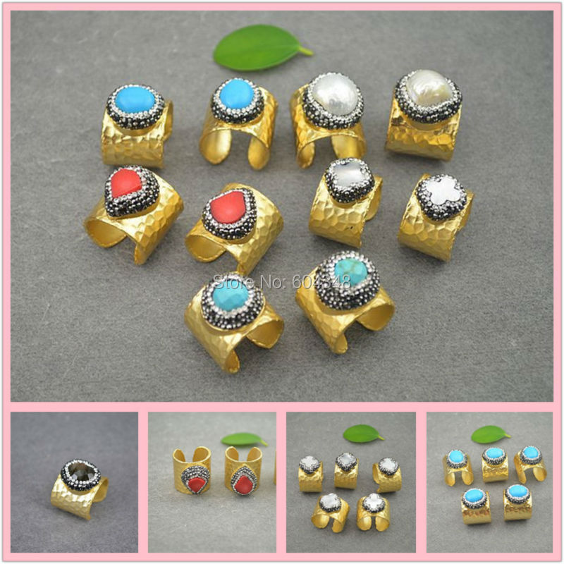 10pcs NEW Charm Natural Labradorite Pearl Red Coral Blue stone Crystal Paved Rings Gold color Jewelry