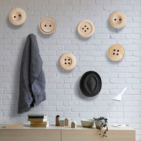 Woody Robe Hooks Home Decor Knobs Wall Hanger with Nail Natural Oak Wood Button Handrail Wall Storage Shelf Rack
