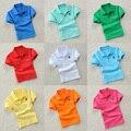 Criança t-shirt de manga curta-2017 médio-grande criança do sexo masculino 100% algodão turn-down gola polo camisa meninas roupas camisa básica branca