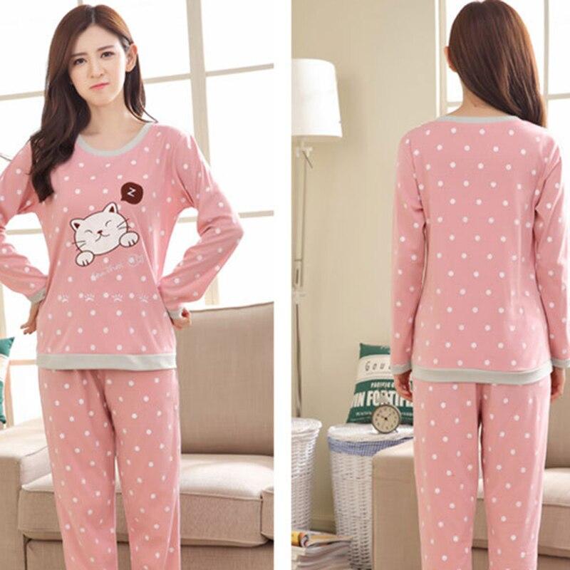 2018 New Women Pajamas Set Autumn Ladies Cute Cartoon Print Sleepwear Woman's Long Sleeved Household Clothing Set
