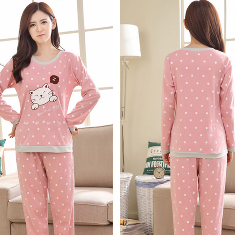 2018 New Women   Pajamas     Set   Autumn Ladies Cute Cartoon Print Sleepwear Woman's Long Sleeved Household Clothing   Set