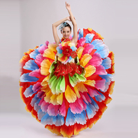 Spanish Opening Dance wide flare Full Dress Colourful Large Flowers Costume Stage Performance Apparel Lotus Dance Costume