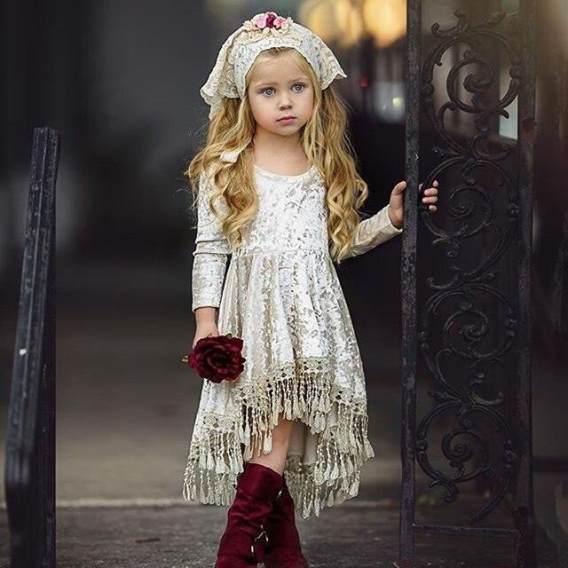 885e59f96690 Vintage Princess Kids Baby Flower Girls Dress Silver Velvet Tassels ...