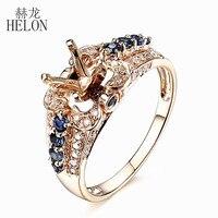 Helon الصلبة 10 كيلو الذهب الأصفر 0.9ct الماس و الياقوت الطبيعي خاتم 6-7 ملليمتر جولة قص نصف جبل إعداد الخطبة خاتم الزواج