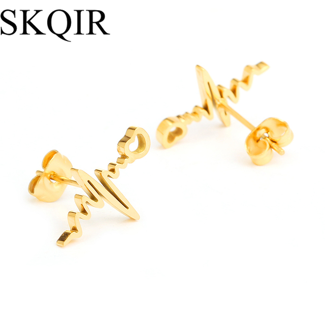 item black as silicone brincos letter mulheres fashion real plated rose v color para geometric stud earrings gold