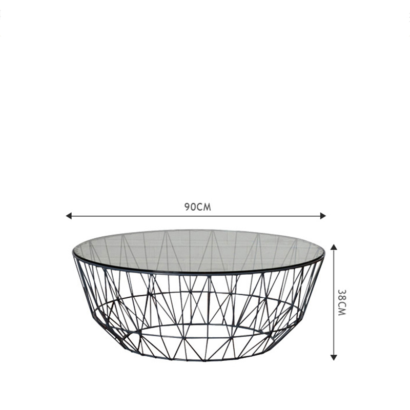 Creative Furniture Living Room Nordic Style Geometric Tea Table Toughened Glass Face Family Iron Tea Table Home Decoration Gifts