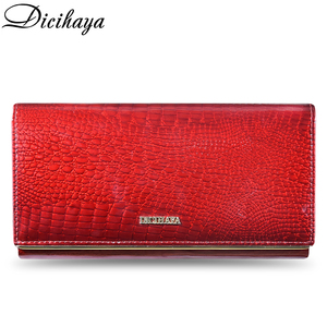 Image 2 - DICIHAYA Genuine Leather Women Wallets Multifunction Purse Red Card Holder Long Wallet Clutch Bag Ladies Patent Leather Purse