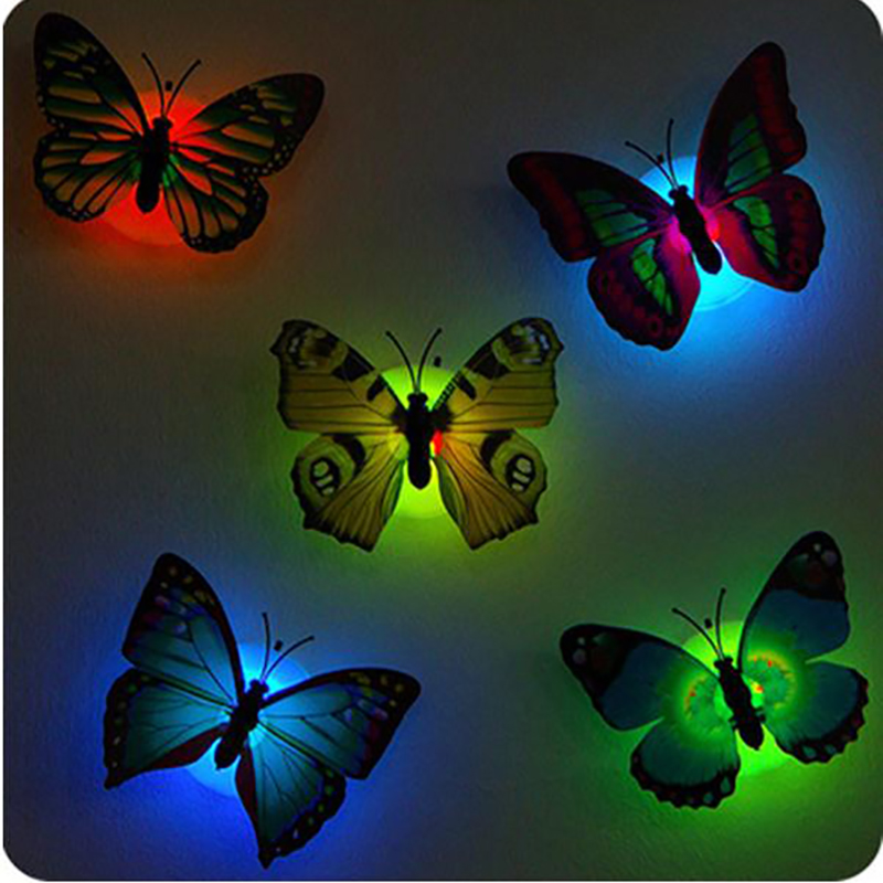 DIY 3D Colorful Butterflies LED Night Light Lamp Removable Sticker With Suction Pad Kids Room Bedroom Decal Party Decor Stickers