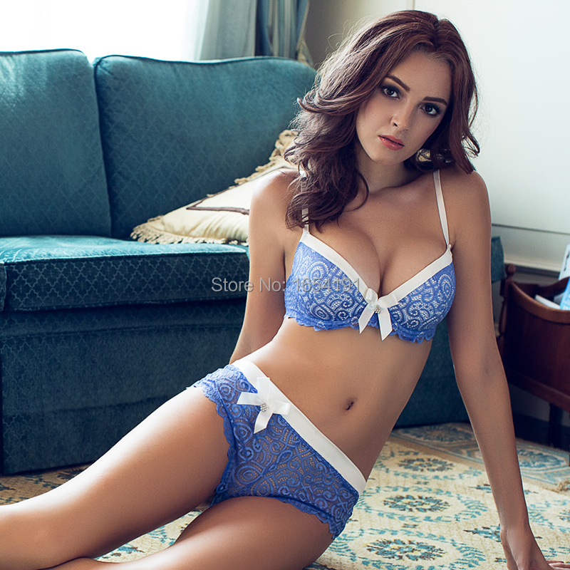 Sexy Bra Sets For Women Blue Lingerie Underwear Push Up Mesh Luxury  Seamless Panty Intimates c722474cfb