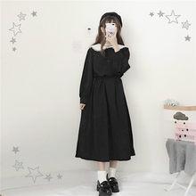 15e413dd8916 Японский Harajuku женский, Черный Макси длинное платье Питер Пэн воротник  Винтаж Лолита Стиль Vestidos Longo длинный рукав Kawai.