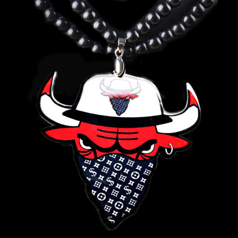 Fashion Hip Hop Bulls Pendant Necklace For Men Long Bead Chain Bull Necklaces Male Jewelry Bijoux Gift Collares Bijouterie