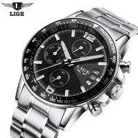 LIGE męskie zegarki Top luksusowe marki moda zegarek kwarcowy mężczyźni sport skórzany wodoodporny 30M zegar zewnętrzny Relogio Masculino w Zegarki kwarcowe od Zegarki na