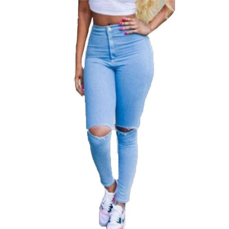 Hot Sale Ripped Jeans Woman High Waist Sexy Pencil Women Jeans Denim Elastic Skinny Pants Blue Jeans Plus Size Women Clothing europe hot sale slim ripped women jean high waisted jeans cotton blue skinny jeans woman denim pants plus size