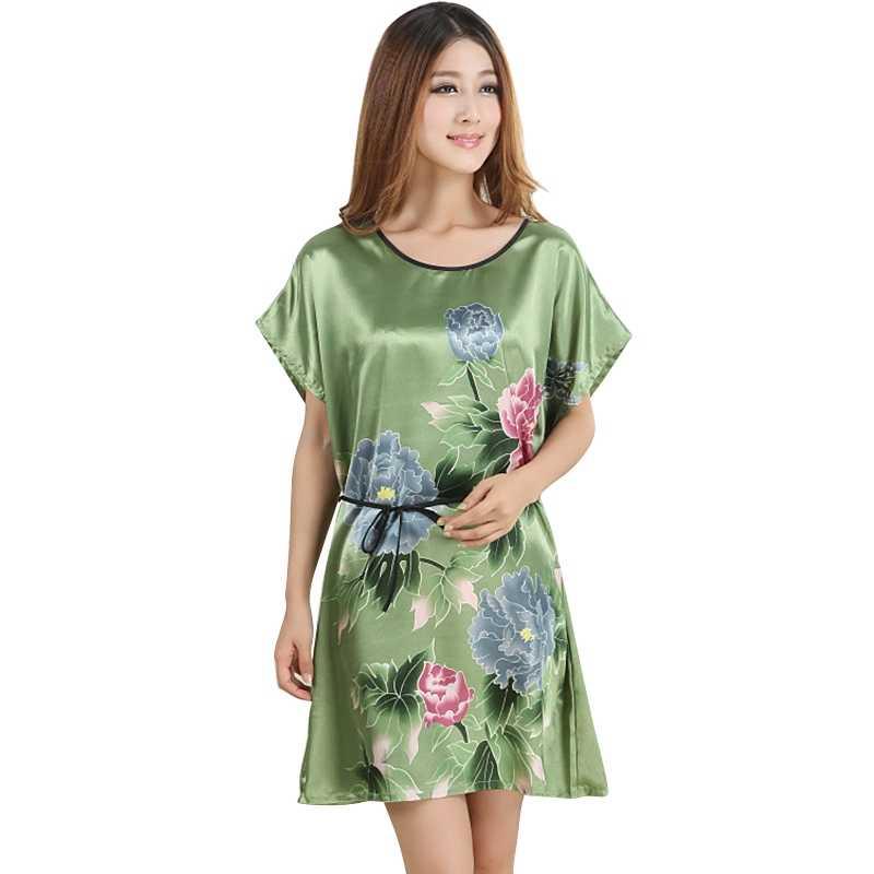 824dedd925 Fashion Chinese Style Women Sexy Print Lingerie Lady Peony Robe Kimono Bath  Gown Nightgown Sleepwear