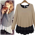 2014 autumn women's faux two piece set patchwork basic shirt knitted cotton sweater female top