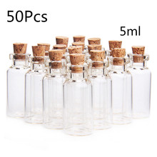 50pcs 5ml Small Empty Clear Glass Bottle Transparent Mini Cork Bottles Wishing Message Vial Jars Container