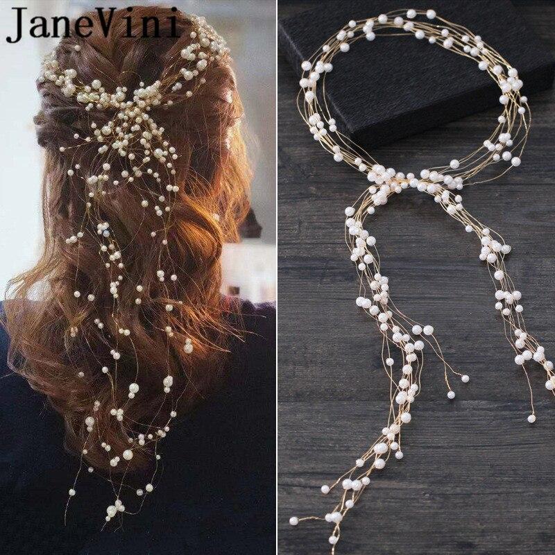 JaneVini accesorios para el cabello de boda perlas simuladas Haedbands para novia corona mujeres adornos para el cabello de diadema haar accessoires bruid