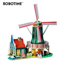 Robotime New DIY Dutch Windmill Doll House with Led Light Children Adult Miniature Wooden Model Building Dollhouse Toy SJ305(China)
