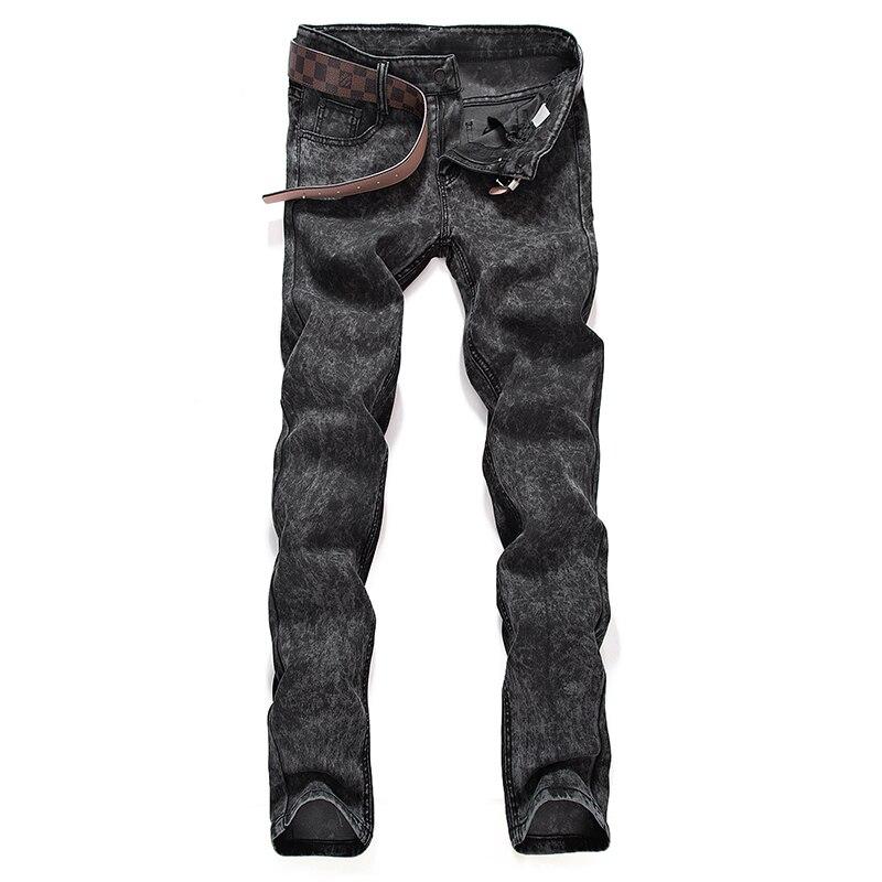 Jeans   Men 2018 Youth Trend Slim Stretch Snowflake Washed Grey Pants / Premium Elastic Cotton Fashion Foot   Jeans   Plus size 28-36