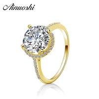 AINUOSHI 14K Solid Yellow Gold Halo Ring 2.65 Carat Round Cut Engagement Wedding Band Anillo de joyeria Big CZ 14K Gold Ring