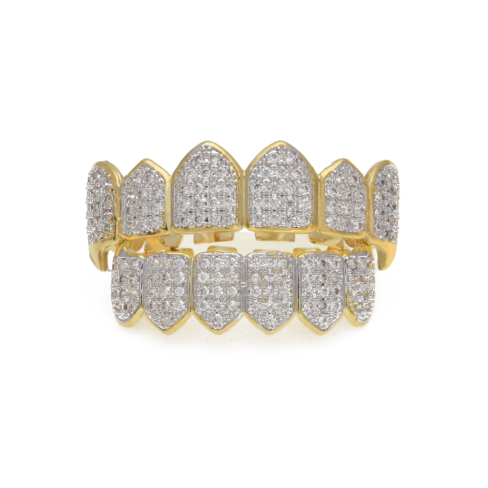 Gold Teeth Grills Top Bottom Tooth Caps Grill Set Hip Hop Bling Jewelry Iced Out CZ Crystal Teeth Grillz Top Bottom Tooth Caps цены