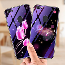 For oppo F5 F 5 Case Tempered Glass Bumper Blue Ray Flower Deer Coque Back Cover for oppo A73 a 73 Case fundas shell capa [] f5 blue denim 85 f str w mediumw medium285040