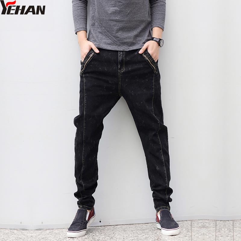 Fashion Black Jeans for Men Large Size Slim Fit Low Crotch Straight Hip Hop Baggy Jeans Denim Harem Pants Zippers Patchwork