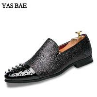 Yas Bae Casual Brand Rock Black Male Loafers High Top Studded Shoe Hightop Footwear Street Style