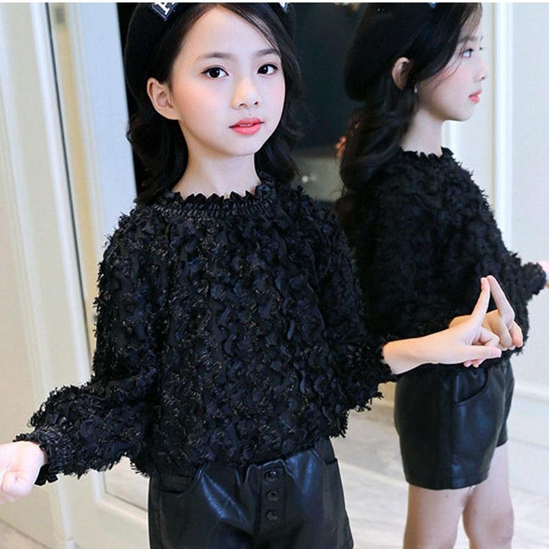 New Arrival Teen Girls T-shirts Long Sleeve Black White T Shirt For Girl Toddler Girl Shirts Autumn Spring Children Clothing
