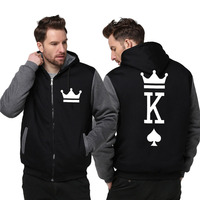 US size for Women Men Couple Hoodies King Queen Poker Jacket Sweatshirts Thicken Hoodie Zipper Coat