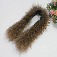2018Whole Leather Fur Fashion Faux Fur Collar Hat Extended Real Raccoon Unisex Jacket Top Fur Scarf