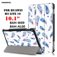 YNMIWEI For Huawei MediaPad M3 Lite 10 Ultra Thin Colorful Print Tablet Case Cover PU Leather