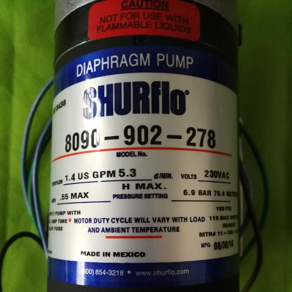 US $300 0 |SHURFLO 8090 902 278 WATER PUMP 230V AC 1 4GPM 5 3LPM 6 9Bar  100PSI diaphragm Pump high flow high pressure suck 1 8m-in Pumps from Home