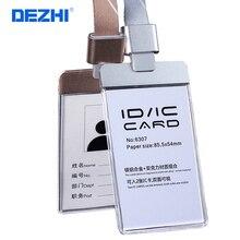Ограниченное предложение DEZHI-6307 Настройка акриловые Пластик ясно ID IC карты знак держатель РАБОТА карты + красочные полиэстер талреп с Аль сплава пряжки