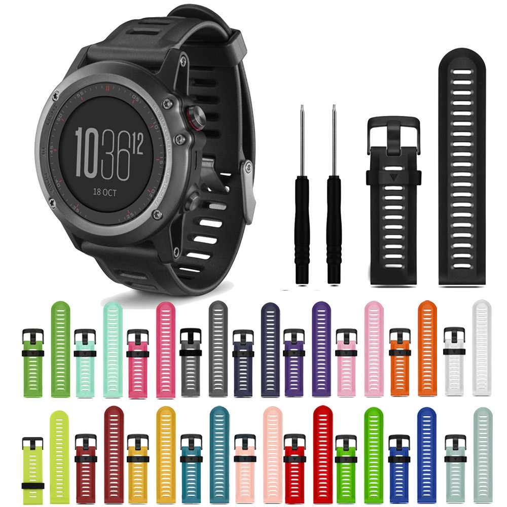 2018 WatchBands 27mm Soft Silicone Replacement Watch Band With Tools For Garmin Fenix 3 New Design Fashion Sports Watch Straps soft adjustable silicone replacement wrist watch band for garmin forerunner 920xt gps watch black