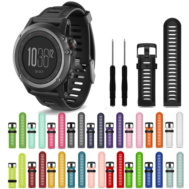 2018 WatchBands 27mm Soft Silicone Replacement Watch Band With Tools For Garmin