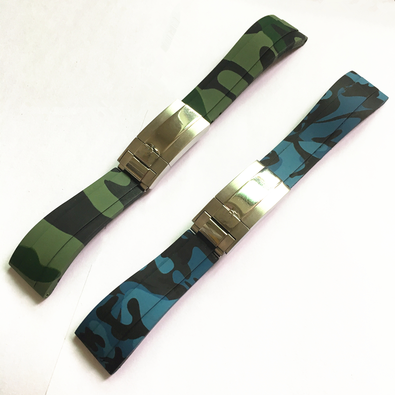 где купить TJP New 20mm Camo Blue Green Rubber Watchbands Strap For Daytona Submarine ROLE Sub-mariner OYSTERFLEX Watch Strap wristband по лучшей цене
