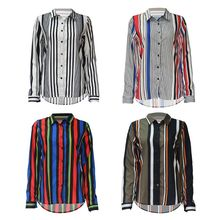 Womens Plus Size Roll Up Long Sleeves Chiffon  Contrast Color Patchwork Verical Stripes Tunic Tops Asymmetric Curved Butto plus size monochrome asymmetric tunic tee
