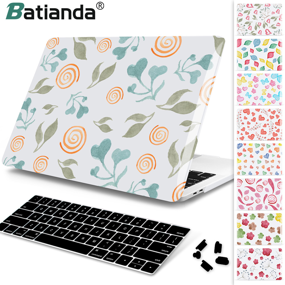 все цены на For MacBook Pro Air Retina 13 15 Case 2018 2017 with Touch Bar & Keyboard Cover Floral White Crystal Hard Case For Macbook