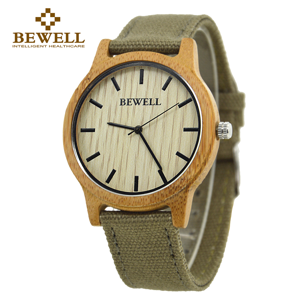 BEWELL 2016 Fashion Japan Movement Bamboo Wooden Wristwatches Simple Dial Canvas Wood Watch With Box Unisex Christmas Gifts 134A