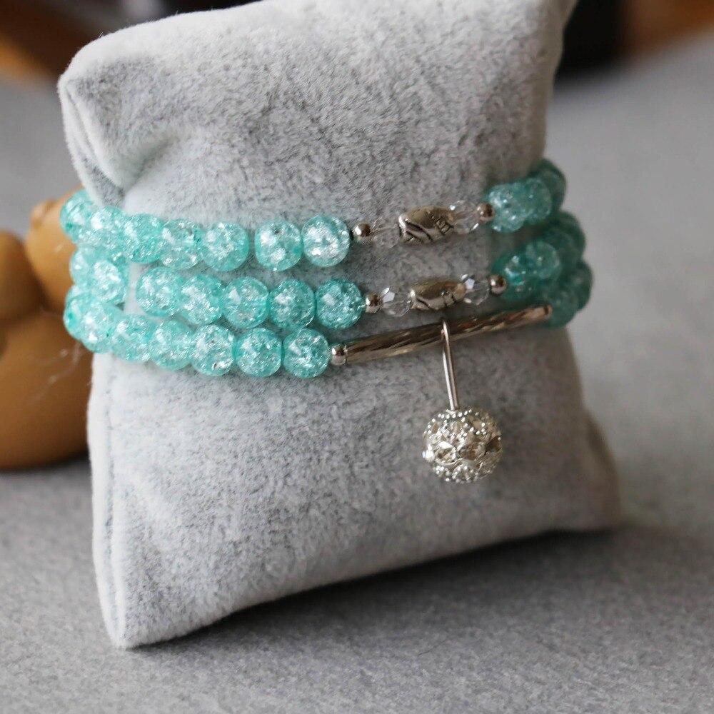 3df5108ea21 À la mode 6mm Naturel Bleu Grésillement Cristal Bracelet Boule Pendentif  Femme Bijoux Bracelet Multicouche Chaîne Collier Pierre Naturelle