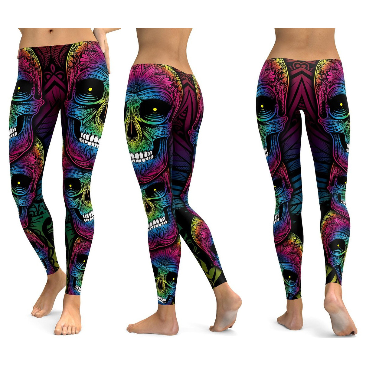 Skull Leggings Yoga Pants Women Sports Pants Fitness Running Sexy Push Up Gym Wear Elastic Slim Workout Leggings 38