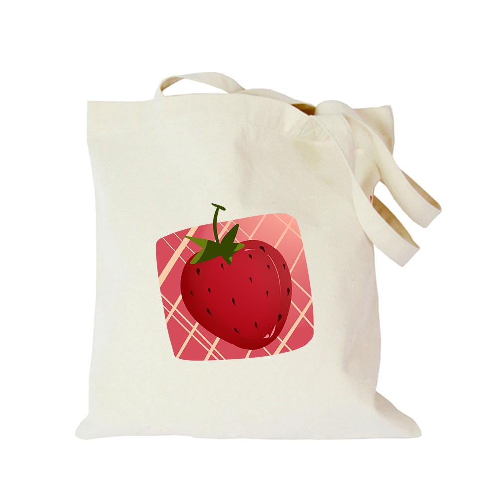Origina strawberry shoulder bag women big shopping customize eco cotton canvas tote handbag foldable advertising cute