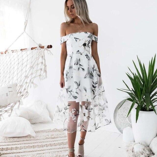 Fashion Floral Print Gauze Summer Women Dress Strapless Empire Sundress  Organza Jurken Elegant Off Shoulder Beach Cause Dresses 569e8b76b
