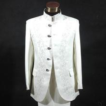 Men's clothing formal suit chinese style embroidery chinese tunic suit stand collar set embroidered wedding set top + pants