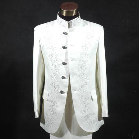 timeless design f9a31 045b7 US $61.28 |Herrenbekleidung anzug chinesischen stil stickerei chinesischen  tunika anzug stehen kragen set bestickt hochzeit set top + hosen in ...