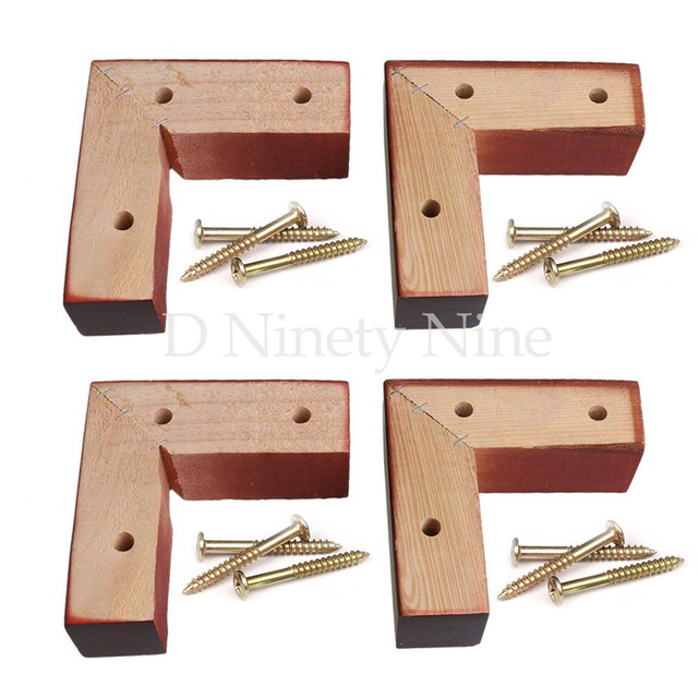 Oak Wood 15x5x5cm Red Brown Right Angle Wooden Furniture Leg Feet 100kg Bearing Weight For Sofa Cabinet Tables Beds Set Of 4